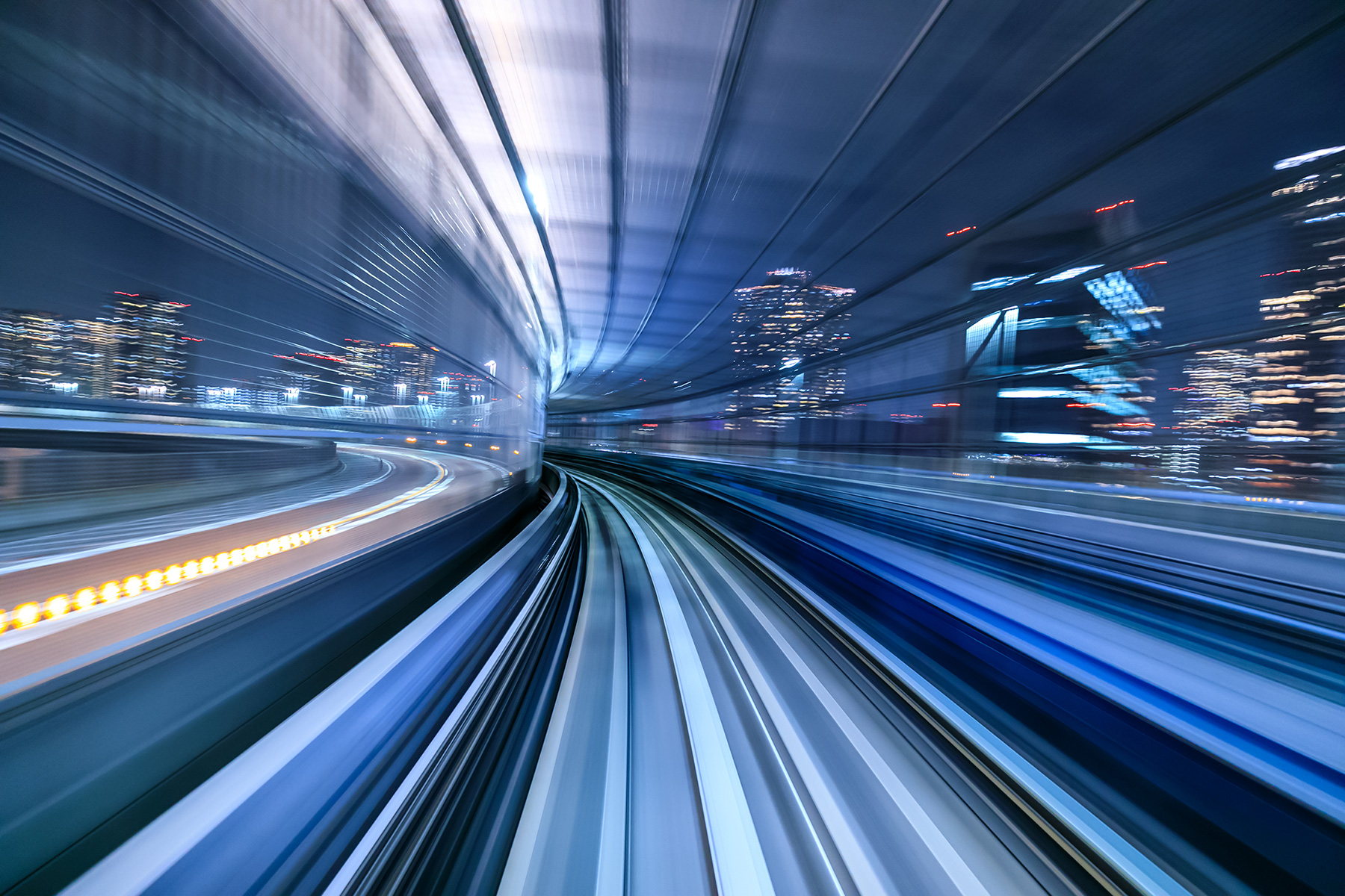 motion-blur-of-train-moving-inside-tunnel-in-tokyo-P736TFD
